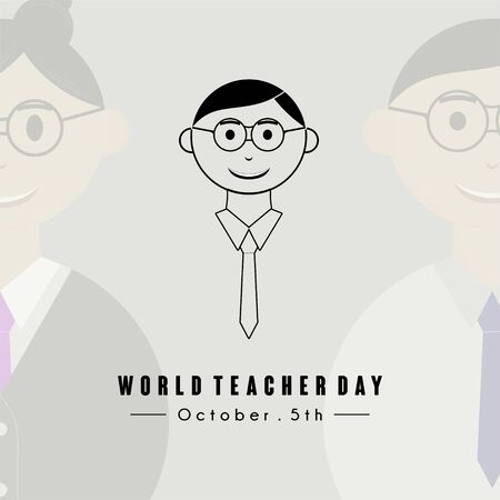 World Teacher Day with World Teacher Day text and Young man teacher black cartoon icon