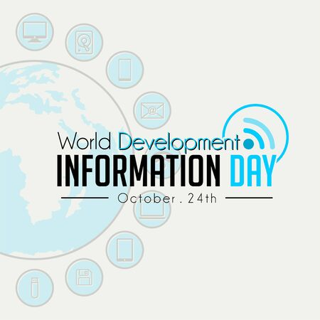 World Development Information Day with Signal icon and technology Information background