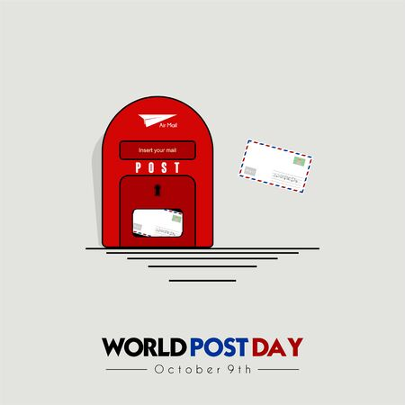 World Post Day with inserting mail to the post box (mail box)