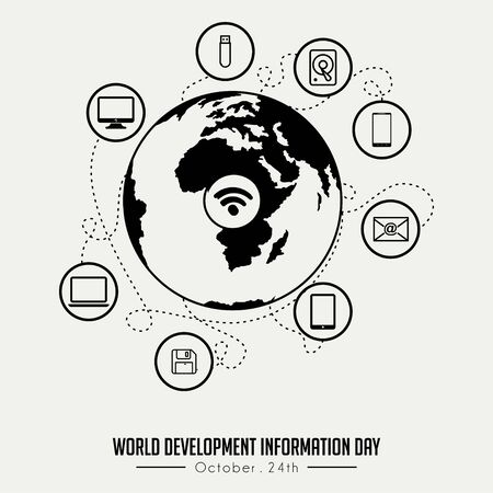 Outline (Line art) World Development Information Day with Globe and flying technology Information outline icon