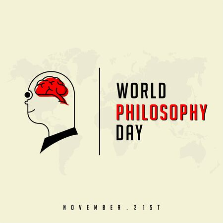 World Philosophy Day with Brain Human Çizim