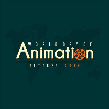 Typography for World Animation Day with movie roll