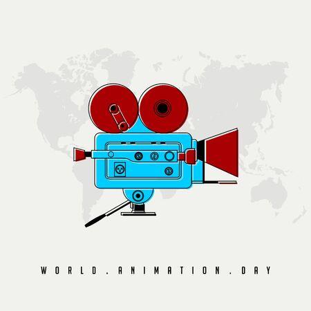 Día mundial de la animación, diseño de vector de videocámara azul rojo