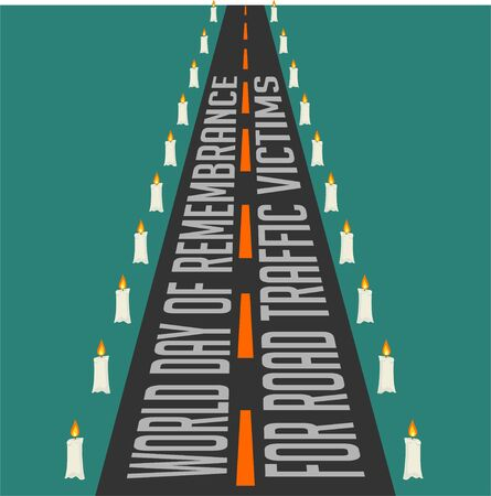 World Day of Remembrance for Road Traffic Victims with road and lit candle on the side 일러스트