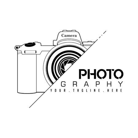 SLR Camera Photography Line art Logo icon vector design