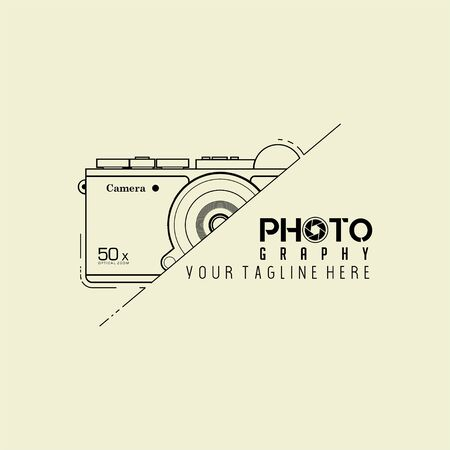 Typography logo For Photography with Digital Mirror less Camera Design Logo