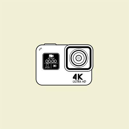 Action Camera Ultra HID Line art vector design  イラスト・ベクター素材