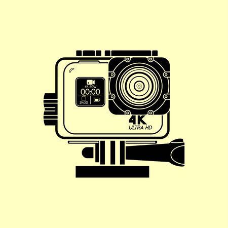 Action Camera Ultra HID on Action camera Waterproof Case Line art vector design