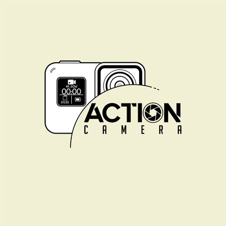Typography logo For Photography with Action Camera Design Illustration