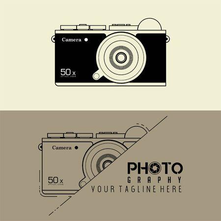 Mirror less Camera Cartoon Design set with Camera template for Icon Logo