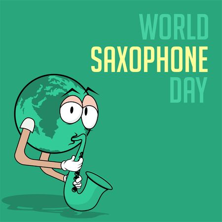 Vector Illustration for Saxophone Day with the globe plays the saxophone with hand