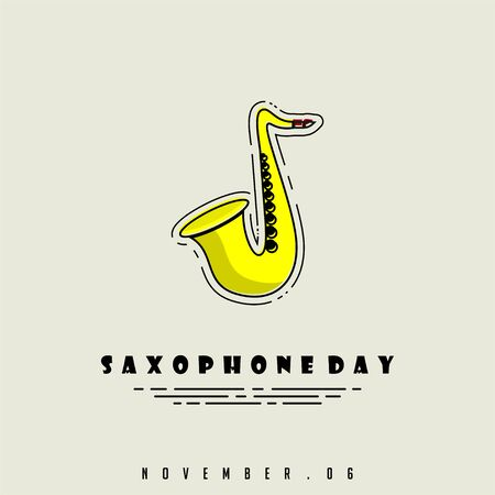 Vector Illustration for Saxophone Day with Saxophone cartoon icon Ilustração