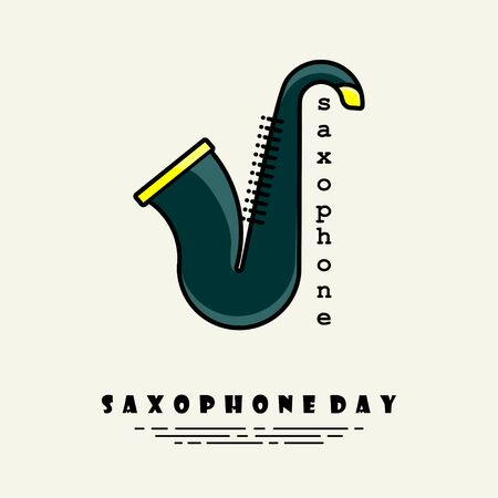 Vector Illustration for Saxophone Day with Simple Saxophone Clip art cartoon icon