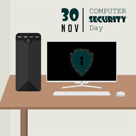 Computer Security Day with Desktop Personal Computer on a desk in the room Illustration