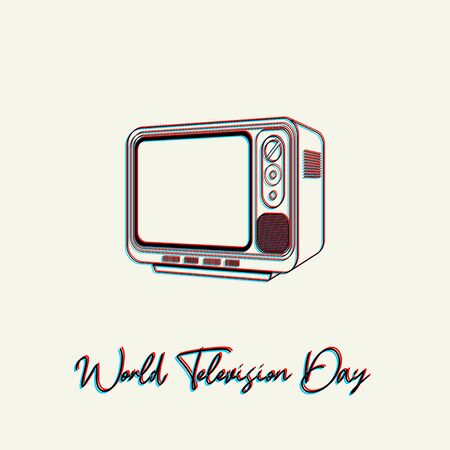 World Television Day with Outline (Line art) Vintage Classic television vector design Illustration