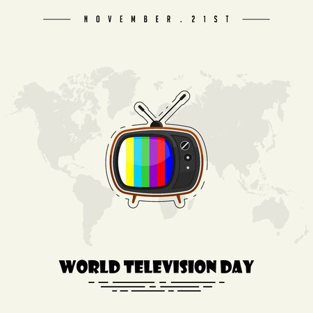 World Television Day with Simple Vintage Classic Television with antenna Vector Design