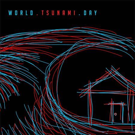 line art, outline neon light concept design for world tsunami day Фото со стока - 133506294