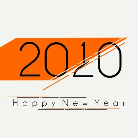 Happy New Year 2020 Typography Style, substitution year number, change year number