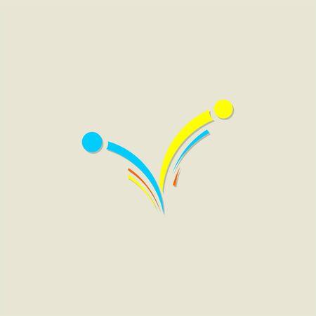 Minimalist V Alphabet people Sport Logo Vector Icon