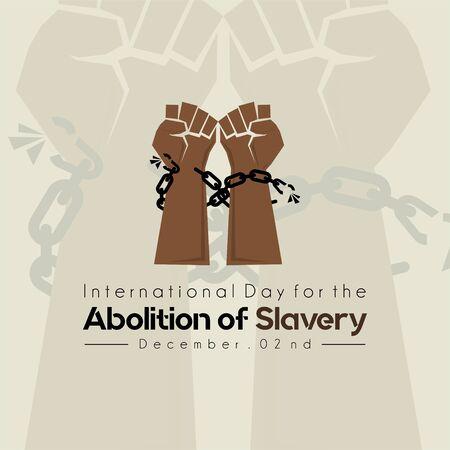 Internationaler Tag zur Abschaffung der Sklaverei, Hand mit Kette und Hintergrund