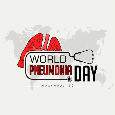 World Pneumonia Day Typography logo, with stethoscope and world map background