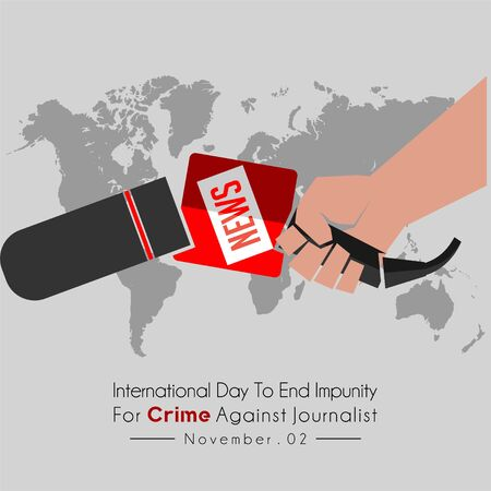 International Day to End Impunity for Crime Against Journalist with Broken Journalist Microphone in the hand