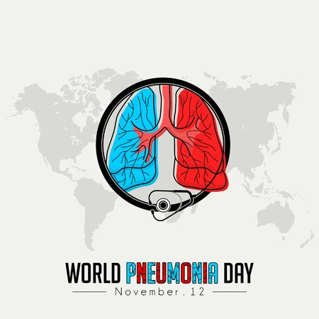World Pneumonia Day, Red blue Lungs Color Icon Cartoon Vector with stethoscope that surrounds the lungs Ilustração