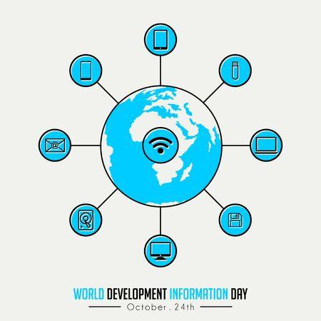 World Development Information Day on October 24th with Globe and technology Information icon Illusztráció