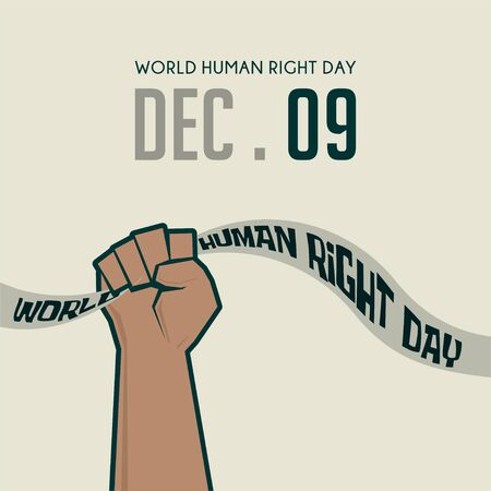 """World Human Right Day with hand holding """"world Human Right Day"""" Text Vettoriali"""