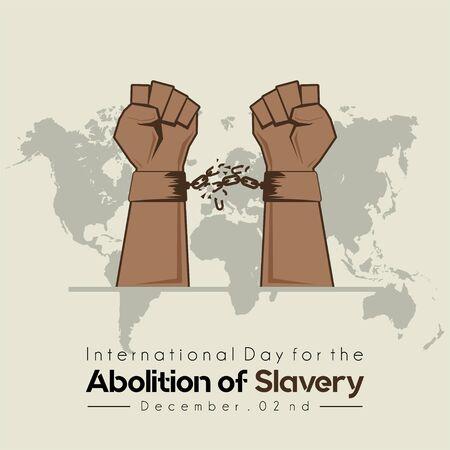 Internationale dag voor de afschaffing van slavernij, hand met kettinghandboeien