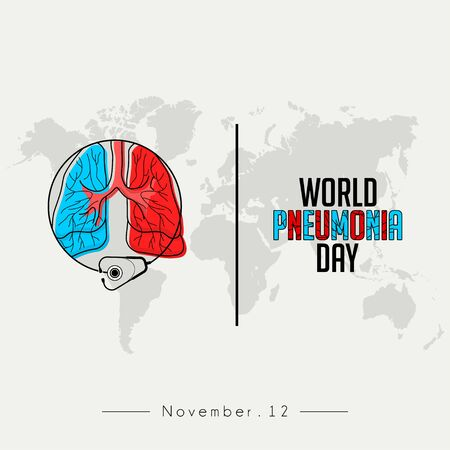 World Pneumonia Day, Red blue Lungs Color Cartoon Vector with stethoscope that surrounds the lungs
