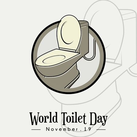World Toilet Day, Open Toilet Bowl icon cartoon vector