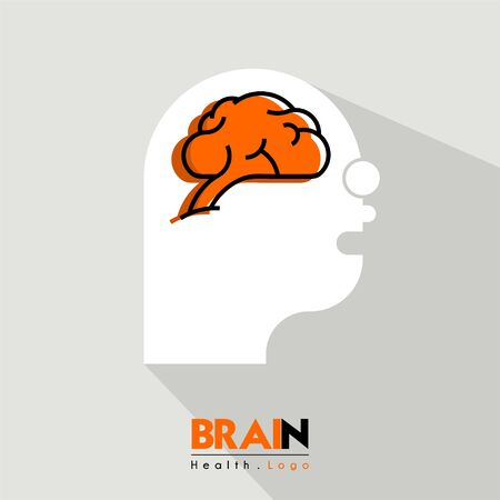 Brain and health cartoon icon logo seen from the side with head people