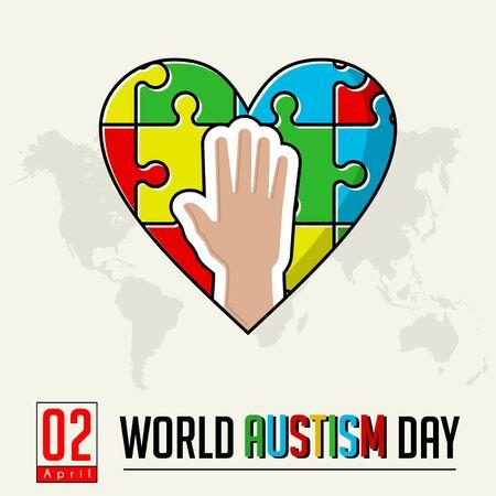 Hand on heart puzzle for world autism day on 2 April Ilustração