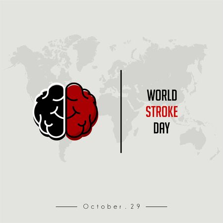 World Stroke Day With the brain (side black and other side red) Illusztráció