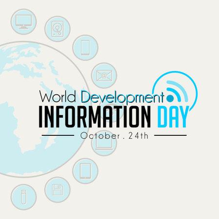 World Development Information Day logo with Signal icon and technology Information background Illusztráció