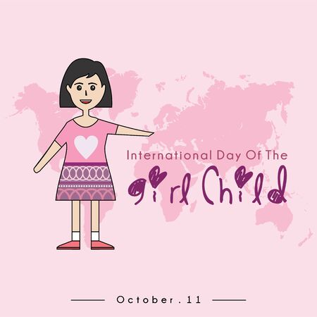 International Day of the Girl Child with The Girl Child cartoon and International Day of the Girl Child text, and pink world map background Stock Illustratie