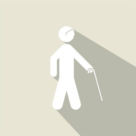 blind people walking with sticks icon vector