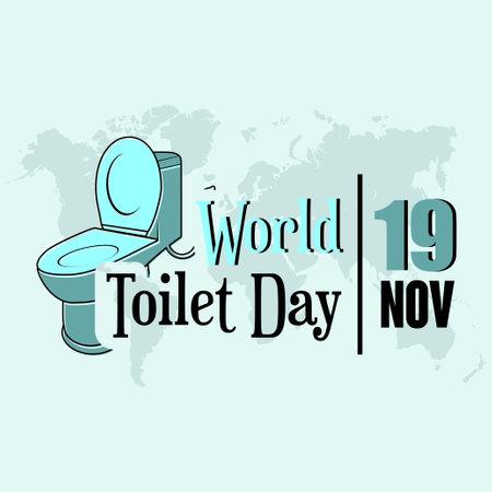World Toilet Day, Typography Logo with toilet icon
