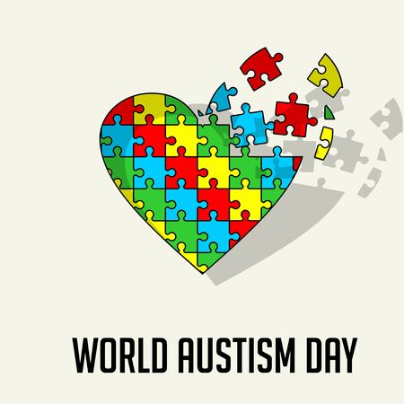 Flying puzzle that forms a heart icon for world autism day Ilustração