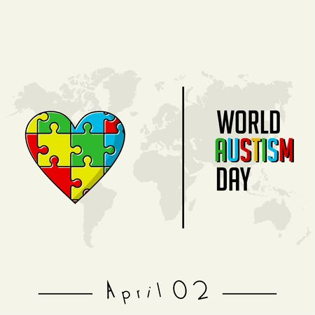 Colored puzzle that forms a heart icon for world autism day