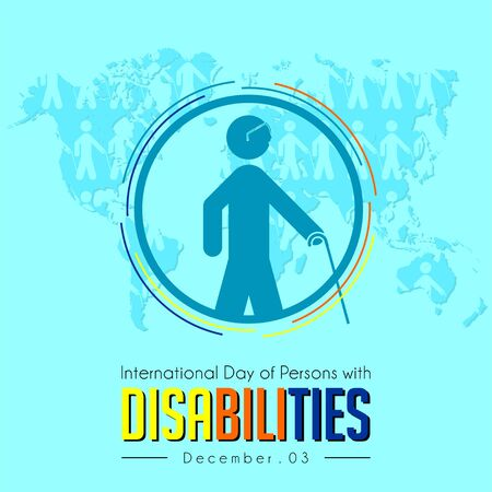 International Day of Persons with Disabilities, blind people walking with sticks icon Illusztráció