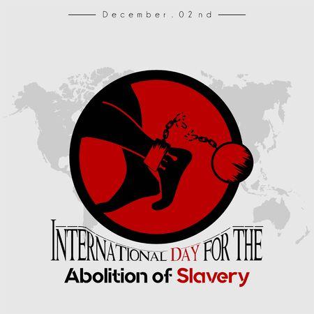 Internationaler Tag für die Abschaffung der Sklaverei, schwarz-rotes Symbol, linker Fuß blutet mit gebrochenen Handschellen und Eisenball-Symbol Vektorgrafik