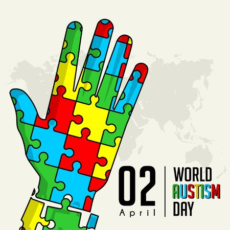 Colored puzzle that forms a hand for world autism day