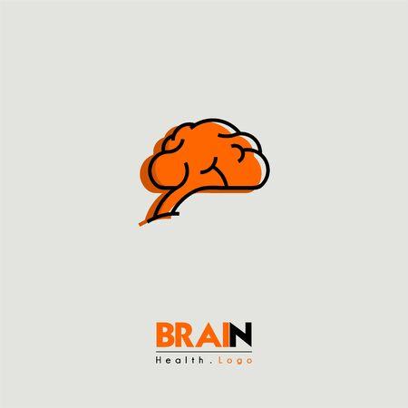Logo d'icône de dessin animé de cerveau et de santé vu du côté