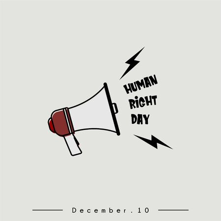 """World Human Right Day with loud megaphone saying """"Human Right Day"""" Vecteurs"""