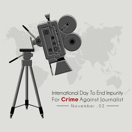 International Day to End Impunity for Crime Against Journalist with The camcorder falls from a tripod and world map