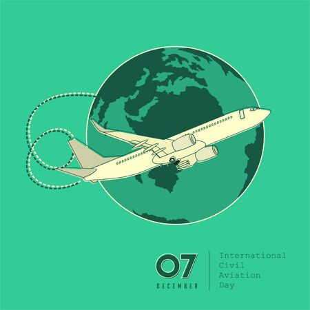 International Civil Aviation Day with airplane above the earth vector design