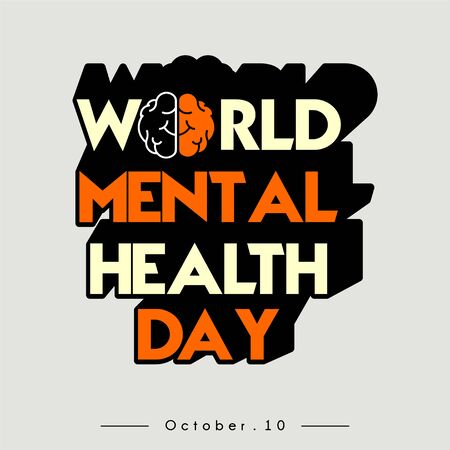 World Mental Health Day Typography text with Brain Concept design