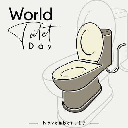 World Toilet Day, Open Toilet Bowl cartoon vector